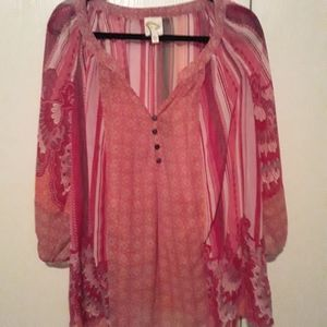 NWOT Fig and Flower 3X Sheer Pink Floral Blouse